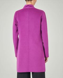 Cappotto in panno color ciclamino con collo in piedi
