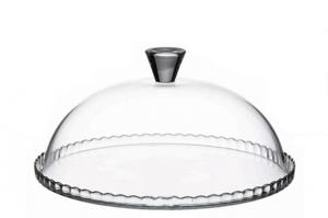 Piatto tondo in vetro torta e dolci con campana cupola cloche in vetro cm.15h diam.32