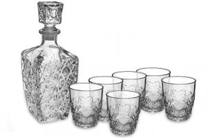 Servizio whisky 7 pezzi, 1 bottiglia con 6 bicchieri whisky cm.26,2x23,8x10,6h