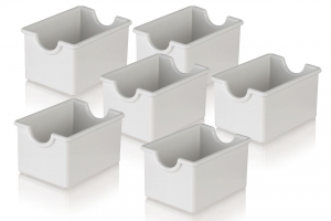 Porta bustine bianco per zucchero e tè 6 pezzi cm.8,5x6,5x5h