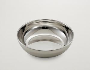 Ciotola tonda liscia in metallo placcato argento cm.5,5h diam.19