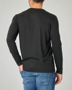 T-shirt nera manica lunga in pima cotton
