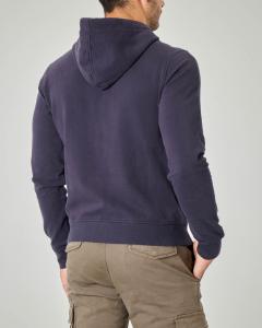 Felpa blu con zip e cappuccio in cotone stretch