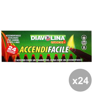 Set 24 DIAVOLINA ACCENDIFACILE Ecologico X 24 Pezzi Barbecue & Pic-nic