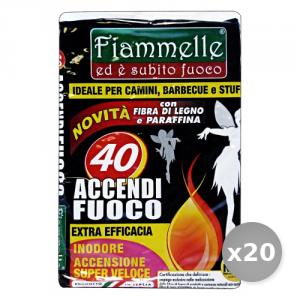 Set 20 Fiammelle Accendifuoco 40 Cubi Barbecue & Pic-nic