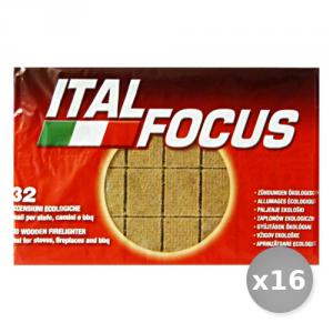 Set 16 ITALFOCUS Accendifuoco Ecologica * 32 Cubi Barbecue & Pic-nic