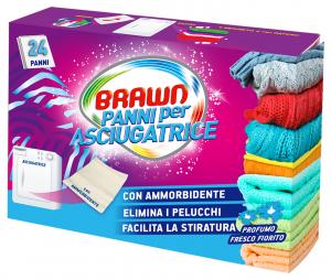 BRAWN Panni ammorbidente + profumati per asciugatrice 24 pezzi