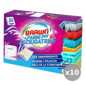 Set 10 BRAWN Panni ammorbidente + profumati per asciugatrice 24 pezzi