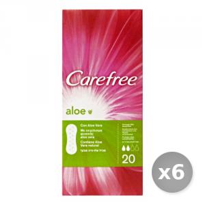 Set 6 CAREFREE * 20 Pezzi Aloe Salvaslip Cura del Corpo