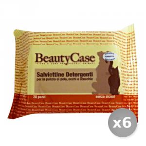 Set 6 BEAUTY CASE Salviette Deter.animali x 20 Pezzi Articoli per Animali