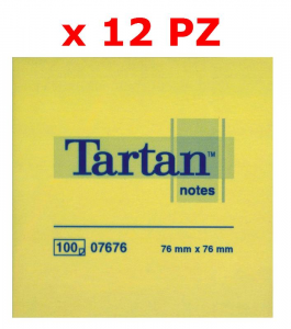 3M Confezione 12 blocchetti tartan da 100 foglietti ognuno 76 x 76mm