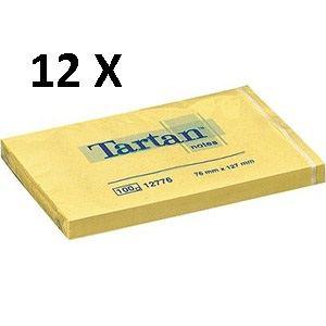 3M Confezione 12 blocchetti tartan da 100 foglietti ognuno 76 x 127mm