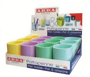 ARDA Bicchiere portapenne, colori assortiti, in display da 12