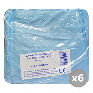 Set 6 BLULINE Bavaglio con Tasca x 100 Pezzi Bac120bl Disinfettanti e Igienizzanti