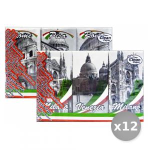 Set 12 CLEAN Mouchoirs Italie * 6 Pi?ces - Fazzoletti di Carta
