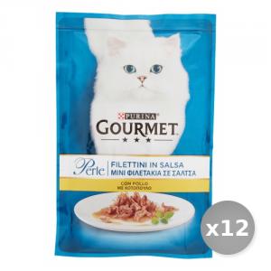 Set 12 PURINA Filettini Pollo 85 gr Cibo per Gatti