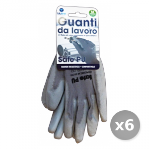Set 6 BLULINE Guanti Lavoro Nylon Poliuretano Taglia m