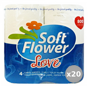 SOFT FLOWER Set 20 X 4 LOVE 800 Strappi Carta Carta igienica Accessori Per il Bagno