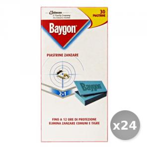 Set 24 BAYGON Piastrine x 30 Pezzi Articoli per Insetti