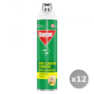 Set 12 BAYGON Scarafaggi/formiche spray extra precision con cannuccia 400 ml