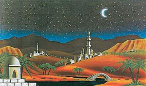 fondale presepe arabo notte cm 70x100 418001100 f.sabbia scuro natale