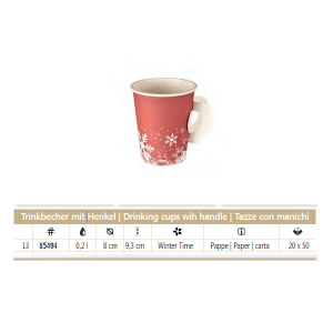 50 Cups With Handles Card 200 ml D8 H 9 Cm Per mercatini di natale