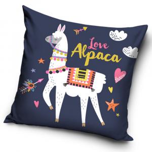 Cuscino arredo decorativo quadrato 40x40 cm blu imbottito Love Alpaca