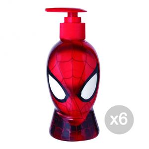 Set 6 AIR-VAL Spiderman Gel Doccia 250 Ml Bagnoschiuma Idea Regalo Per Bambini