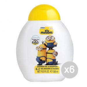 Set 6 AIR-VAL Minion Gel Doccia 2In1 300 Ml Bagnoschiuma Idea Regalo Per Bambini