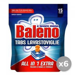 Set 6 BALENO Tabs lavastoviglie all in 1 extra 15 pezzi prodotto detergente