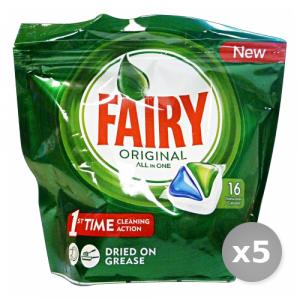 Set 5 FAIRY Lavastoviglie 16 original prodotto detergente