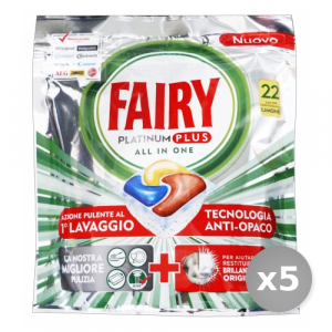 Set 5 FAIRY Lavastoviglie 22 platinum plus limone prodotto detergente