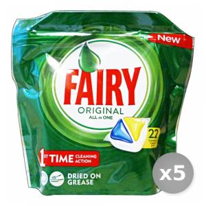Set 5 FAIRY Lavastoviglie 22 all in one limone prodotto detergente