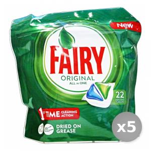 Set 5 FAIRY Lavastoviglie 22 all in one original prodotto detergente