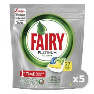 Set 5 FAIRY Lavastoviglie 27 platinum limone prodotto detergente