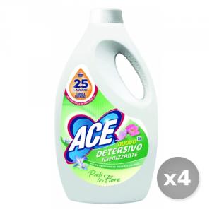 Set 4 ACE Lavatrice liquido 25 misurini igienizzante prati in fiore per bucato