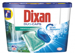 DIXAN Detersivo Lavatrice Ecodosi Duo Cascata di smeraldo 16 Capsule Per bucato