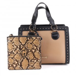 Hand and shoulder bag Liu Jo CREATIVA N69069 E0019 NERO+NUEZ+REPTILE