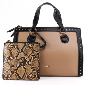 Hand and shoulder bag Liu Jo CREATIVA N69064 E0019 NERO+NUEZ+REPTILE