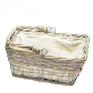 Cestino con manici in vimini e metallo rivestito di stoffa piccolo