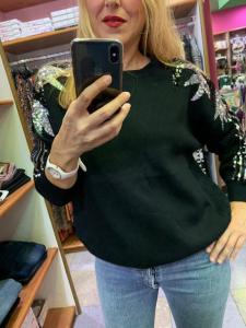 Maglione con ricami paillettes 3 colori