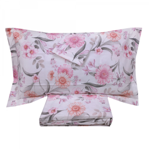 Lenzuola matrimoniali completo flanella MIRABELLO GERBERE fiori rosa