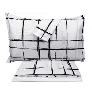 Complete double bed sheets 2 squares Trussardi SKETCH white satin