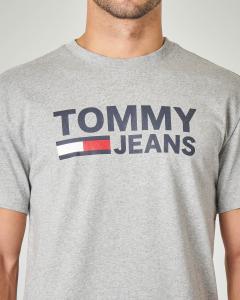 T-shirt grigia mezza manica con logo stampato