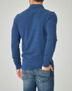 Polo blu indaco manica lunga in piquet di cotone