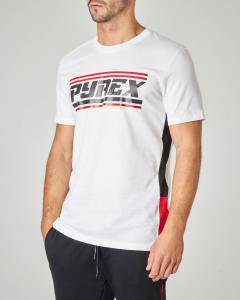 T-shirt bianca con logo Pyrex in stile racing