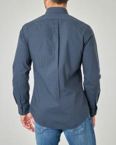 Camicia a quadretti blu e verdi button down in popeline di cotone
