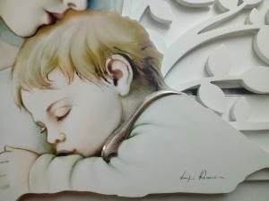 Capezzale-Capoletto Madonna con Bambino cm. 80 x 40  Luigi Pesaresi con sfondo intagliato Albero della Vita