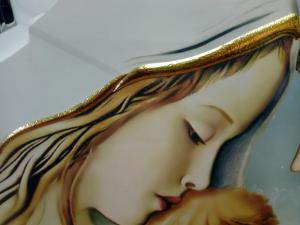 Capezzale-Capo letto della Sacra Famiglia- Albero della Vita di Luigi Pesaresi formato cm. 80 x 40 su legno intagliato laccato color bianco