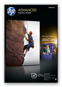 HP Confezione da 25 fogli carta fotografica lucida 10 x 15 cm senza margini Advanced